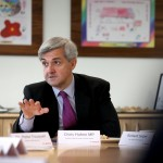 Chris Huhne, former Secretary of State for Energy and Climate change, pictured visiting Worcester Bosch